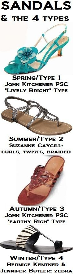 """sandals. suzanne caygill's summer ( #type2) = """"curls, twists, or is braided.""""bernice kentner & jennifer butler winter ( #type4) = zebra. http://pinterest.com/pin/525021269029570999 .""""lively bright"""" (spring/ #type1) & """"earthy rich"""" (autumn/ #type3) from john kitchener psc videos (see videos: www.youtube.com/user/jkpsc/videos). photos:  www.shoebuy.com/imageview/luichiny-sa-brina/624998 www.target.com/p/women-s-merona-emily-braided-strap-gladiator-sandal-pewter/-/A-14336285"""