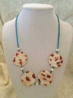 Cream blue and brown necklace HALF 0FF by CelestialCreations4u, $15.00