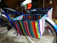 Crocheted bicycle baskets by Crochet-ing Away