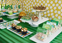 holiday, dessert tables, party desserts, goodie bags, party printables, st patricks day, st patti, party tables, parti