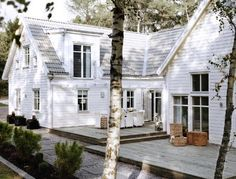 Back deck white houses, back patio, cottag, mobile homes, exterior, dream, pool houses, patio decks, back porches