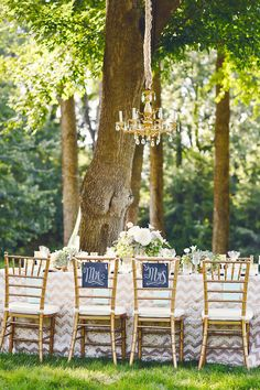 Gold chiavari chairs, hanging chandelier, chevron tablecloth, love it ALL! Photography by amandadumouchellephotography.com/  Read more - http://www.stylemepretty.com/2013/08/22/pinckney-michigan-wedding-from-amanda-dumouchelle-take-a-seat/