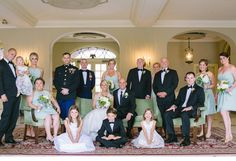 Great bridal party photo taken within Lovett Hall's Lobby