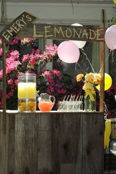 pink white yellow party design indulgences lemonade stand