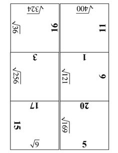 Square Roots Practice Puzzle