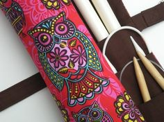 large knitting needle case  fun tiki owls on red by knitonebeadtwo, $40.00