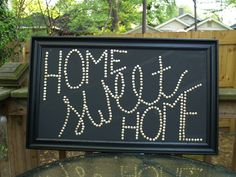 Home Sweet Home DIY art with tumbtacks