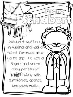 CLASSICAL COMPOSERS COLORING SHEETS - TeachersPayTeachers.com