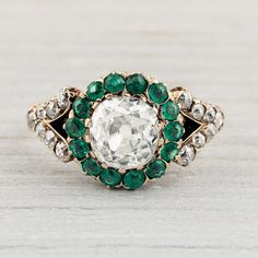 Image of 1.16 Carat Victorian Diamond and Emerald Engagement Ring