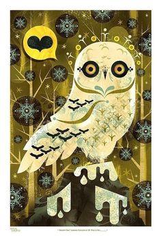 Alberto cerriteno, Etsy, Snowy Owl. I like how stylized this artwork is!