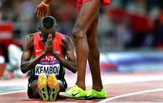 Exactly. Kenya's Ezekiel Kemboi prays after winning the 3,000 meter steeplechase at the 2012 London Olympics.