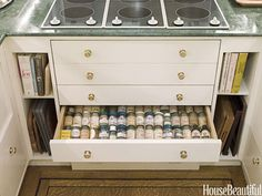 Dream Kitchen Designs - Pictures of Dream Kitchens 2012 - House Beautiful   spice drawers 4 inch deep/side slides