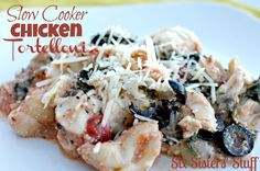 Slow Cooker Chicken Tortellini from sixsistersstuff.com.  This is one slow cooker meal your whole family will love! #recipes #slowcooker #chicken