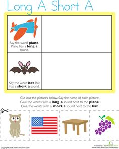 Worksheets: Vowel Sounds: Long A, Short A