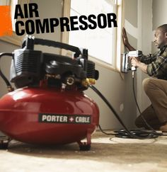 An air compressor uses power to release quick bursts of air. They can be connected to pneumatic tools to create a more powerful effect. An air compressor is a great way to make your stapler, paint sprayer, sandblaster, or drill more powerful!
