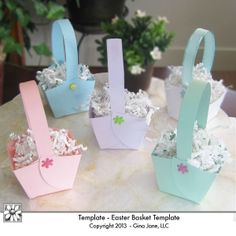 Easter Basket Pattern - Printable Template for making a paper basket.  Great for party favors, treats, any season or party!  Printed on colored pastel card stock.   Gina Jane Designs - DAISIE Company