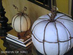 Fall Vignette with DIY Grapevine Pumpkins