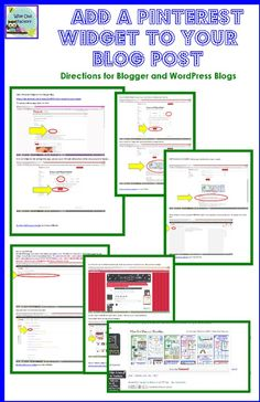 free directions on how to add a Pinterest Widget to both a WordPress blog post (first) and/or a Blogger blog post