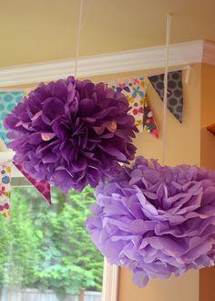 Purple Tissue Paper Pom Poms - Birthday Party
