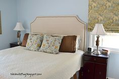 lovely nailhead trim headboard from... a drop cloth! tutorial...