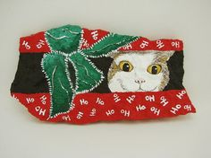 Christmas Box Kitty hand painted rock slate by RocksOK on Etsy, $15.00
