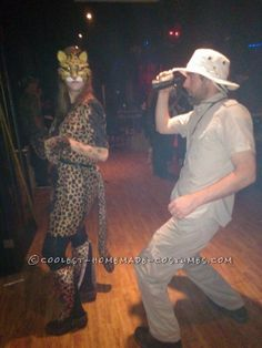 Super Fun Safari Tourist and Leopard Couple Costumes