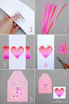 Tarjeta love, con una tecnica similar a la de la cesteria pero con tiras de papel.
