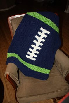 Seattle Seahawks football baby blanket, you could even make it larger for the big football fans! (Note: You could change the colors to another team but it's not recommended...SEAHAWKS RULE!)