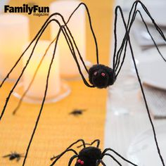 Mighty Spideys: Marching down the dining table, long-legged visitors add arachnid appeal to a Halloween meal. Their twisty limbs can also cling to furniture, banisters, or any other place that could use a little creepy-crawly cool.