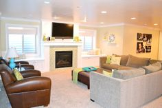 basement ideas. love the window bench with storage underneath