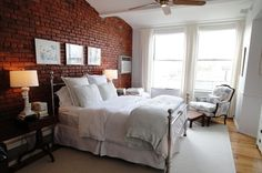 bed frames, expos brick, master bedrooms, exposed brick
