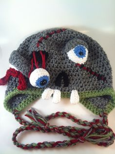 OMG - how funny - my Aunt Juliea should have this hat!   Zombie Hat - Teen/Adult size. $30.00, via Etsy.