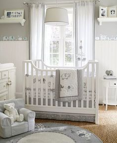 THIS IS EXACTLY WHAT I WANT! ...ONE DAY.Taylor Nursery | Pottery Barn Kids  I love the gray nursery and the polka dots on the crib skirt. I wonder if it would blend with Henry's gray nursery and chevron stripes?