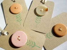 Recycled Retro Vintage Flower Button Tags by LillyThings on Etsy, $3.00