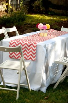 Stitch up a Quick Mitered Table Runner for your party -- tutorial from Aesthetic Nest.