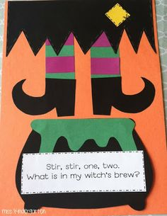 """Make cauldron a flap and have the kids cut out pics from magazines to put in their """"Witch's Brew"""". (Halloween, Fine Motor)"""