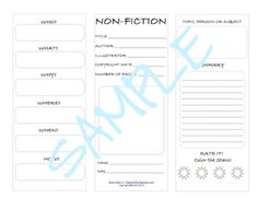 FREE Nonfiction student worksheet! Use with any nonfiction text. Especially those who need an introduction or refresher.