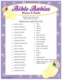 Bible Babies game - perfect for a baptism celebration