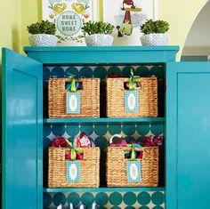 Repurpose tv stand into bright armoire