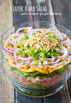 9 layer asian salad, cilatro salad dressing, yummy healthy salads, layered salads, asian salad dressing, layered salad recipes, salad dressings, layered asian salad, asian layer salad