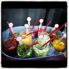 I could use my mason jars good idea for our taco/nacho bar condiments! (sour cream, cheese, salsa, jalapenos, etc.)