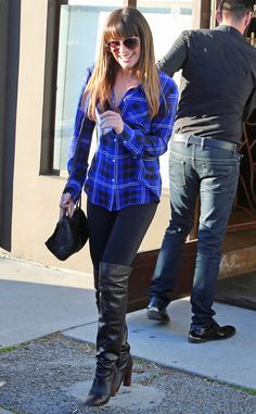PRETTY IN PLAID  Lea Michele dresses up a casual plaid-shirt-and-leggings combo with sexy over-the-knee boots in West Hollywood. Style Inspir, Thighs, Shirts, Fashion Styles, Thigh Highs, Street Styles, Dress Up, Thigh High Boots, Lea Michele