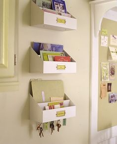 Great idea for sorting out mail/keys etc. - utilise the wall space! :-)