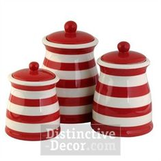 Red & White Stiped Ceramic Kitchen Canister Set