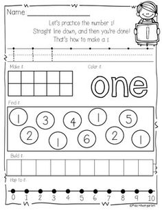 Number practice printables. A fun way to learn your numbers!