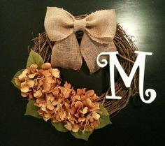 Grapevine Wreath  Fall Wreath Monogram by TheLeoAndTheTaurus