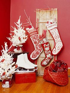 Love the idea of hanging stockings on old door or something like. Great if you don't have a fireplace or other space to hang them!
