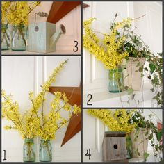 Spring Mantle Decorating ideas using nature - forsythia - daffodils - paper whites