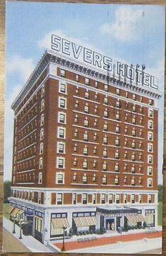 Muskogee OK Hotel Severs 1940's Postcard Oklahoma