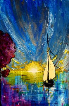 kyle brock, home painting, painting art, color, sunset, home art, sail away, artist, sailboat